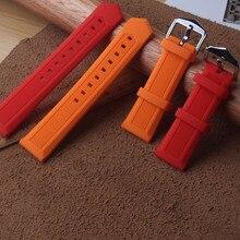 Ремешки для наручных часов 12 мм 14 мм 16 мм 18 мм 19 мм 20 мм 21 мм 22 мм 24 мм 26 мм 28 мм силиконовые резиновые ремешки оранжевый мягкий мужской женский ремешок для часов