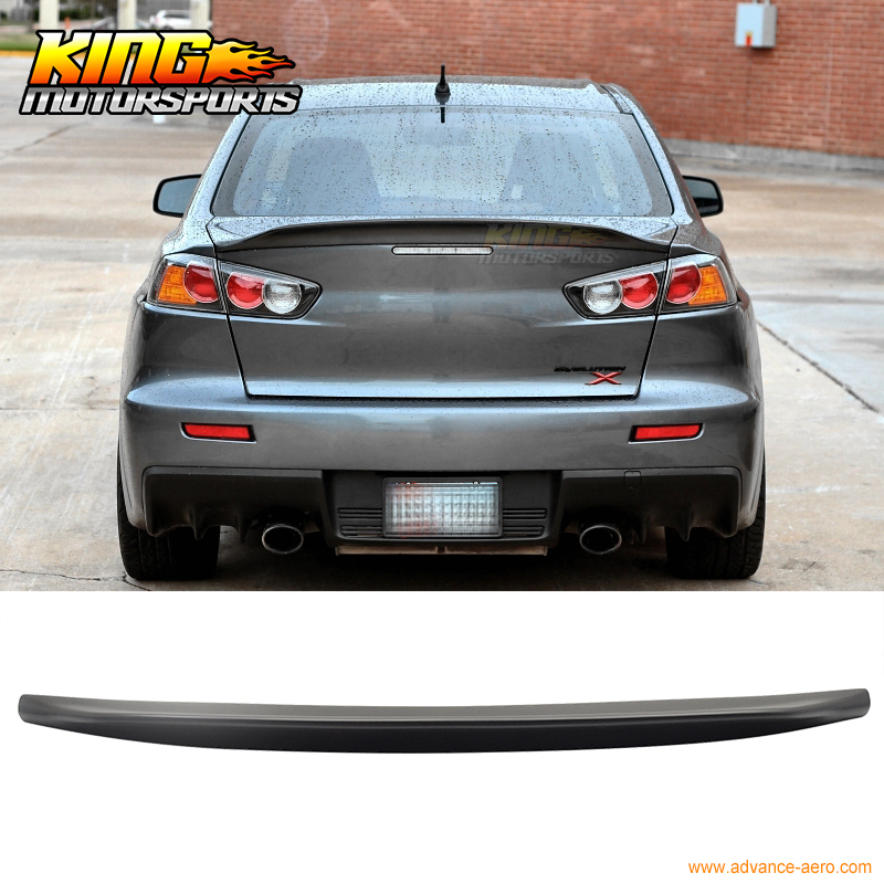 abs trunk spoiler itm evo for mitsubishi s rear black fit matte lancer fitment wing