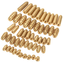 50pcs/set Assorted Copper Bullet Sinker Kit Texas Rigs Carolina Rig Accessories Lead Weights Fishing Tools conjunto De Pesca