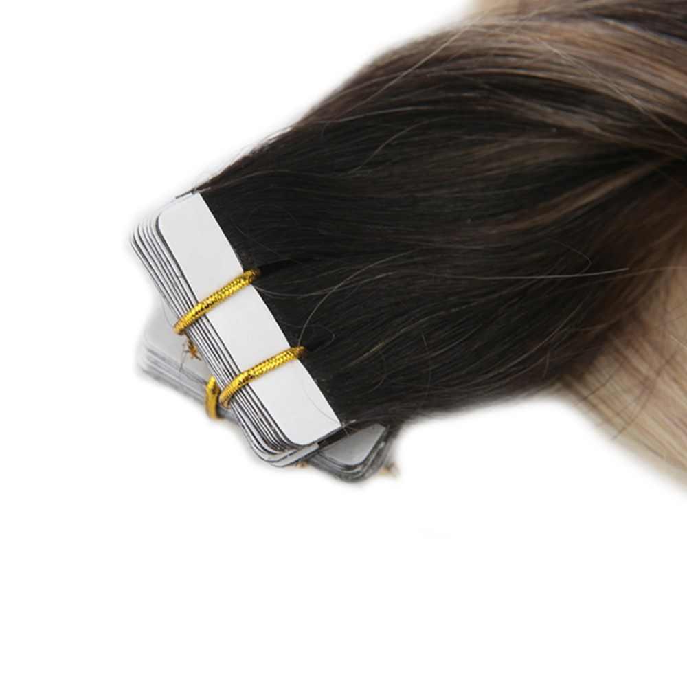 Полный блеск человеческих волос Remy ленты в 20 шт. 50 грамм балаяж цвет # 1B темные корни выцветания до #18 с #60 Plantinum блондинка