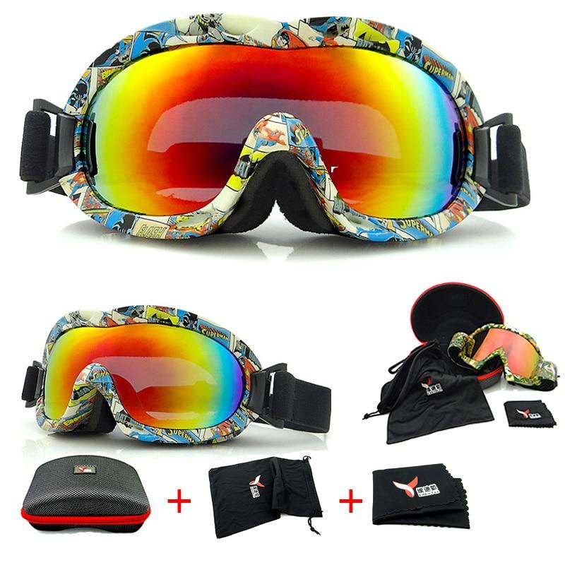 52d1f57eef7ce BHWYFC Crianças Anti Nevoeiro óculos de Esqui Óculos Óculos de Neve  Crianças À Prova de Vento Snowboard Óculos com Lente Esférica de Esqui  Meninos Sports ...