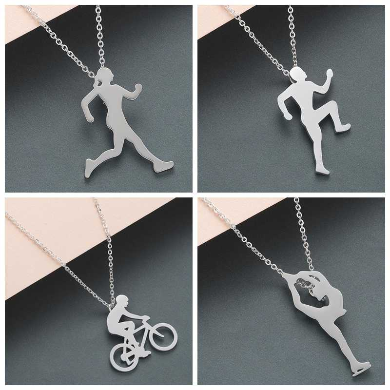 QIMING 2019 Handmade Sports Jewelry Women Men Necklace Golden Running Bike Rider Bicycle Pendant Unique Stainless Steel Necklace