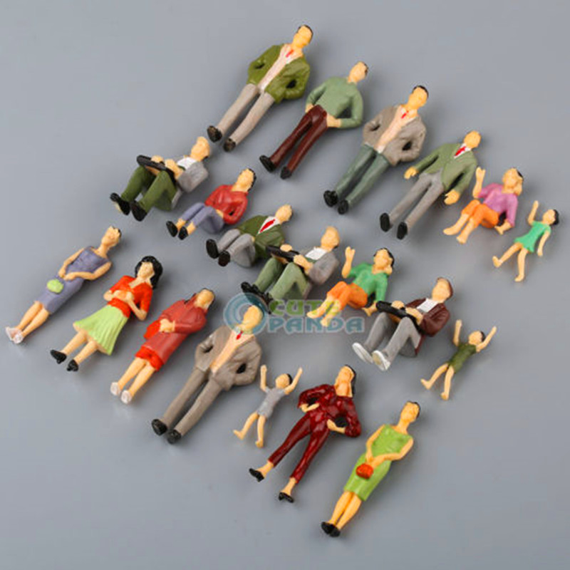 20pcs G Scale Mix Painted Model People Train Park Street Passenger Figures 1:25