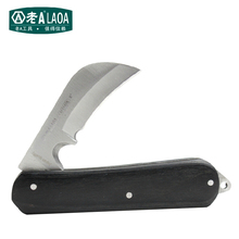 Laoa Multifunction Curved Knife Folding Knife Professional Electrician Knifes Solid Wood Wire Stripping La111428