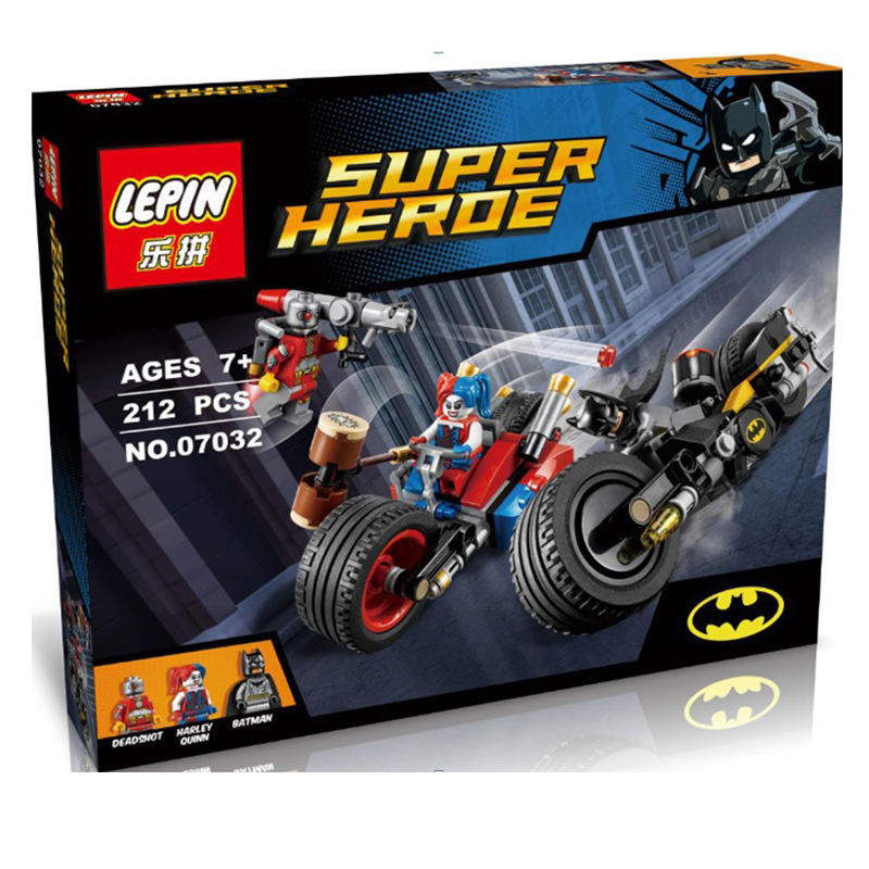 LEPIN 07032 Super Hero Compatible With Legoe Minifigures Mighty Micros Deadshot Harley Queen Batman with motorcycle Blocks Toys