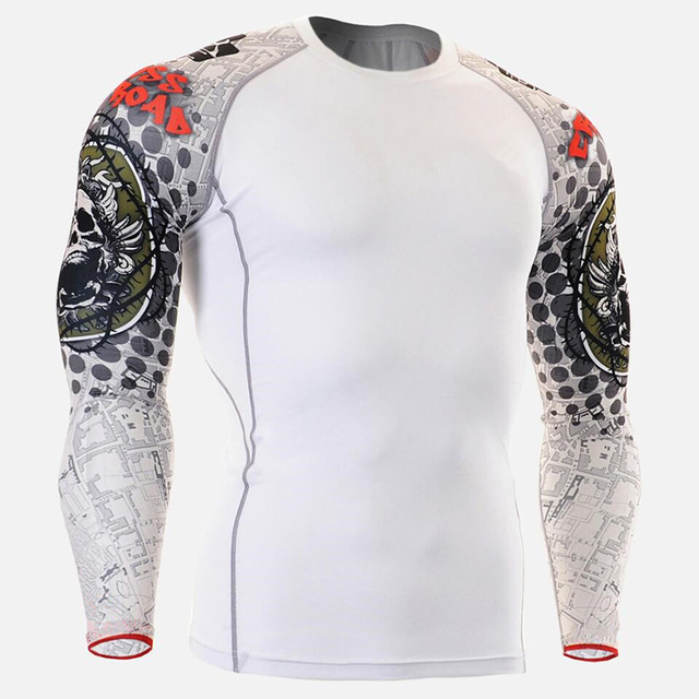 New Running Shirt Men Skull Sport T Shirt Gym Shirt Men Compression Tight Fitness Top Bodybuilding Tshirt Rashgard Soccer Jersey 1