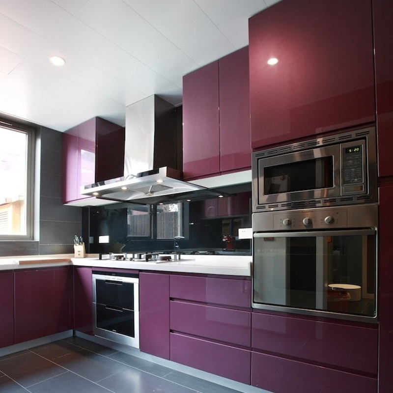 Thickening shiny purple pvs self adhesive wallpaper pvc Kitchen self design