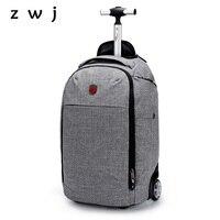 Suitcase Wheel Trolley Bag Shoulder Backpack Rolling Luggage 18 inch Men Carry On Travel Bag