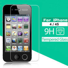 0.3mm 2.5D 9H HD Premium Tempered Glass For Apple Iphone 4 4S Front Clear