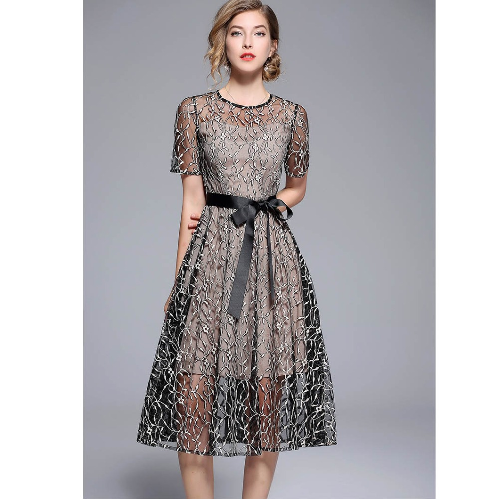 ReinaLiza Lace Fake two Pieces Embroidery Zippers Dress