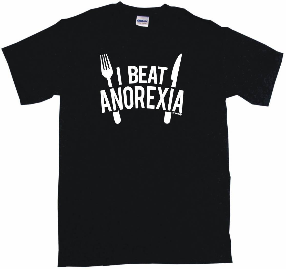 I Beat Anorexia Big Fork & Knife Logo Mens Tee Shirt Pick Men T Shirt Great Quality Funny Man Cotton