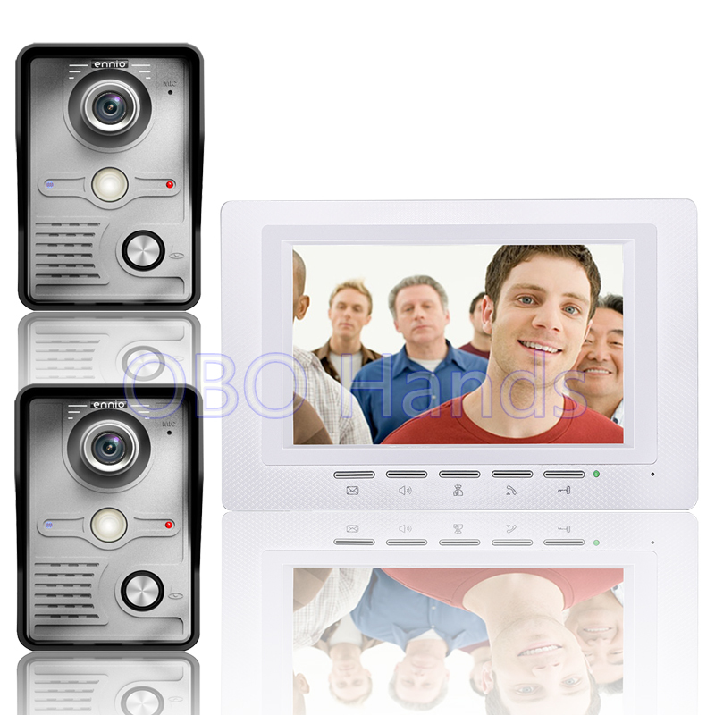 Free Shipping 7'' Wired Video Door Phone Access Control Doorbell Intercom System Kit 2 camera+1 monitor IR Night Vision 817MKW21 jeatone 10 hd wired video doorphone intercom kit 3 silver monitor doorbell with 2 ir night vision 2 8mm lens outdoor cameras