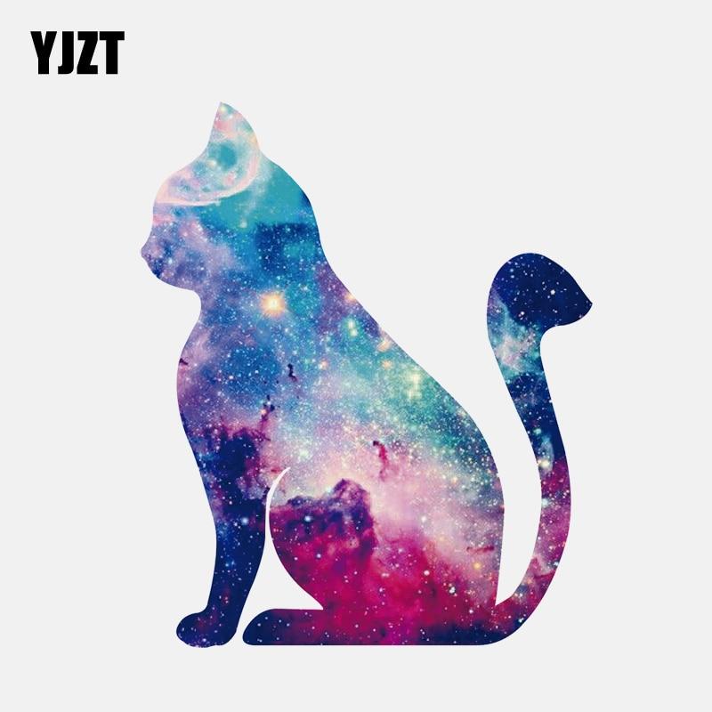 YJZT 11.7CM*14.2CM Stylish Starry  Cat Silhouette PVC Car Sticker 11-00909