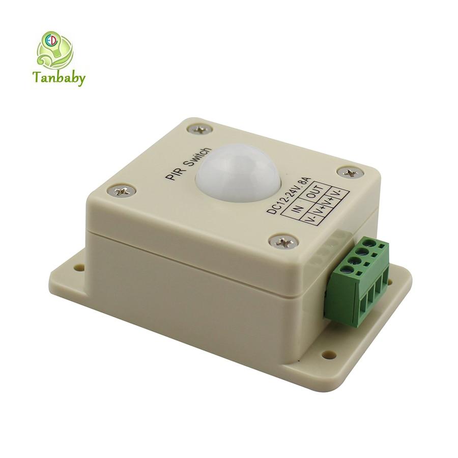Tanbaby DC12-24V 8A PIR Switch LED Light Infrared PIR Motion Sensor Switch for led lamp strip lighting automatic controller infrared pir motion sensor switch for led light strip automatic dc 5v 30v 10a h028
