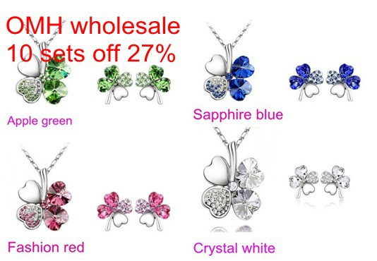 OMH wholesale happiness clovers 18KT white gold crystals fashion Earrings +necklace Women girls married gift Jewelry sets TZ02