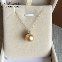 [Ainami] 10-11mm South Sea Pearl Pendant14k Yellow Gold Pendant Fine Jewelry witch necklace for christmas gifts free shipping(China)