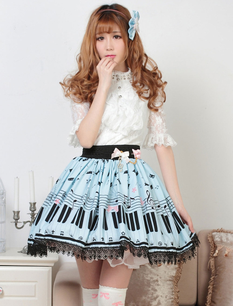 Image 4 - Sweet Lolita Short Skirt Cute Piano Key and Melody Printed Summer