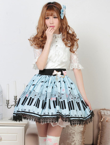 Image 4 - Sweet Lolita Short Skirt Cute Piano Key and Melody Printed Summer Skirt for Women