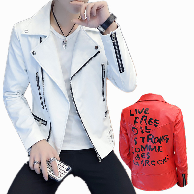 Fashion Spring Autumn Motorcycle Leather Jacket Men youth Slim Fit Oblique Zipper Faux Leather Jacket Men Leather Jackets Coats