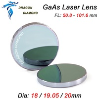 Material GaAs Focus Lens 18mm 19.05mm 20mm Dia 50.8mm 63.5mm 101.6mm Focal length GAAS Laser Lens For Co2 Laser Machine