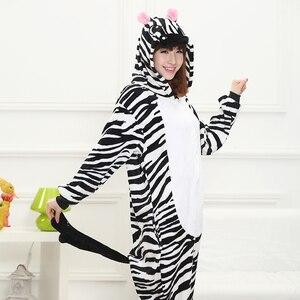 Image 5 - Adult Yellow Stripe Cartoon Kigurumi Cosplay Costume Kid Winter Animal Jumpsuit Boy Anime Flannel Onesie Pajamas Sleepwear Girl