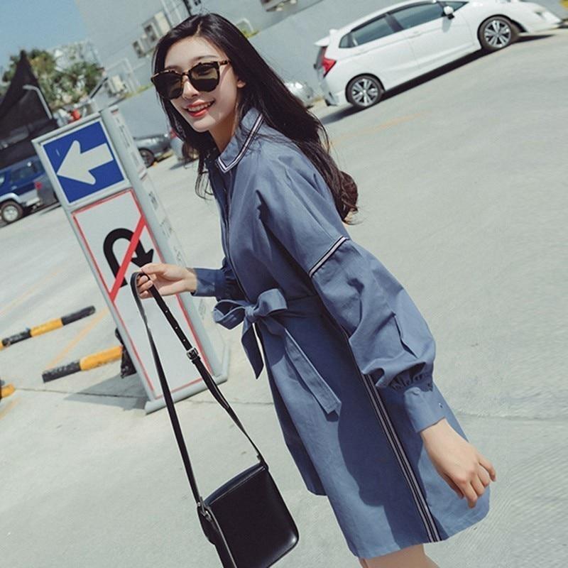 Dress Chemise Taille Blue Q781 Manches Automne Lace Femmes Femme Mini Grande Coréenne Sexy Mode Rayée Up Robes Vêtements Lanterne Robe H4a1nHqUr