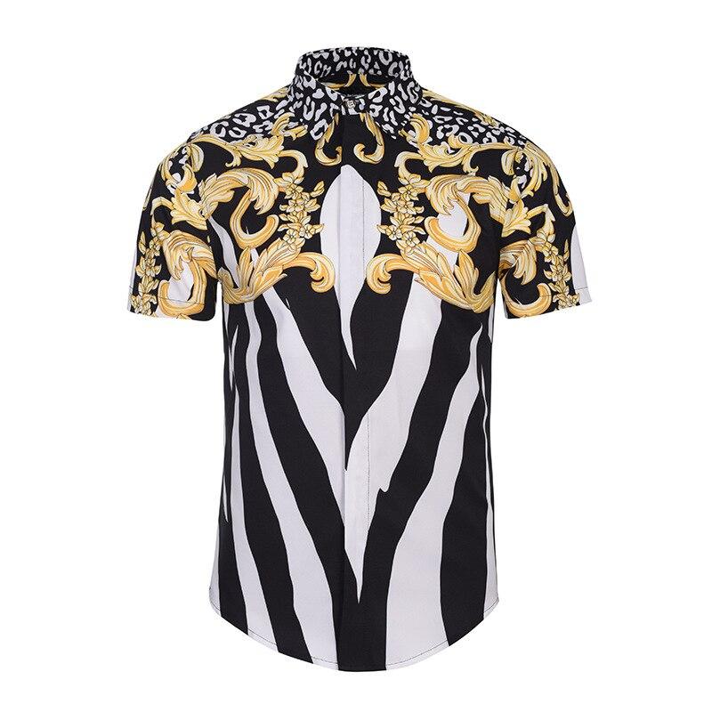 남성 스트라이프 레오파드 프린트 드레스 셔츠 독특한 메두사 셔츠 패션 3d 반소매 럭셔리 하라주쿠 남성 독특한 메두사 셔츠