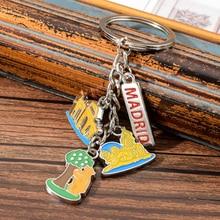 Vicney Spain Madrid Key Chain Cute Colorful Four Pendant Keychain Gift For Friend Travel Souvenir Holder