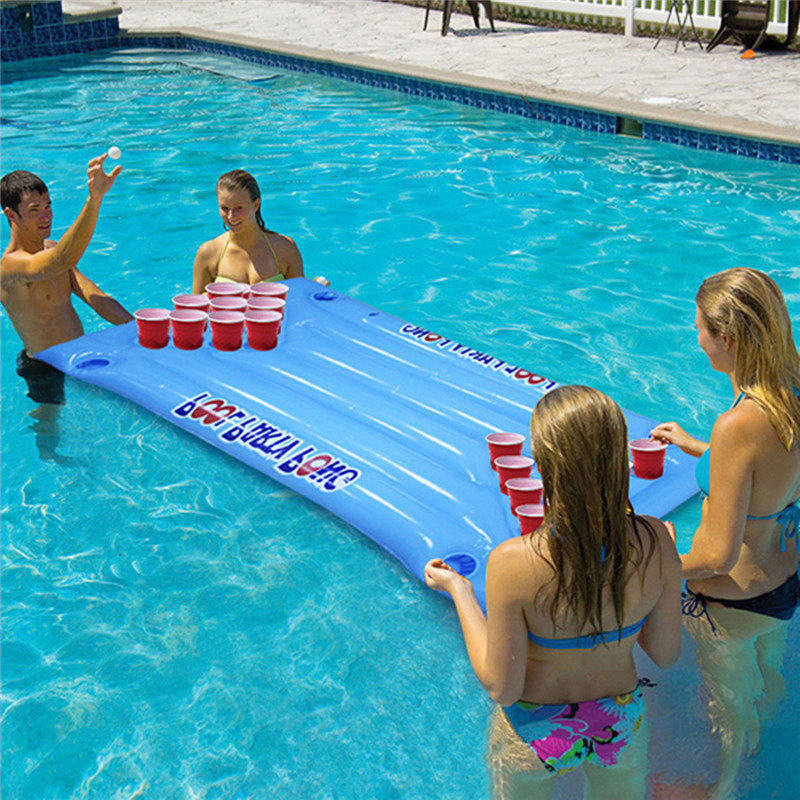 New Arrival 24 Cup Holder Inflatable Beer Pong Table Pool Float Summer Water Party Fun Air Mattress Ice Bucket Cooler