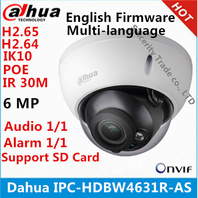Dahua IPC HDBW4631R AS 6MP IP Camera IK10 IP67 IR30M ingebouwde sd kaart Audio en Alarm interface HDBW4631R AS POE camera