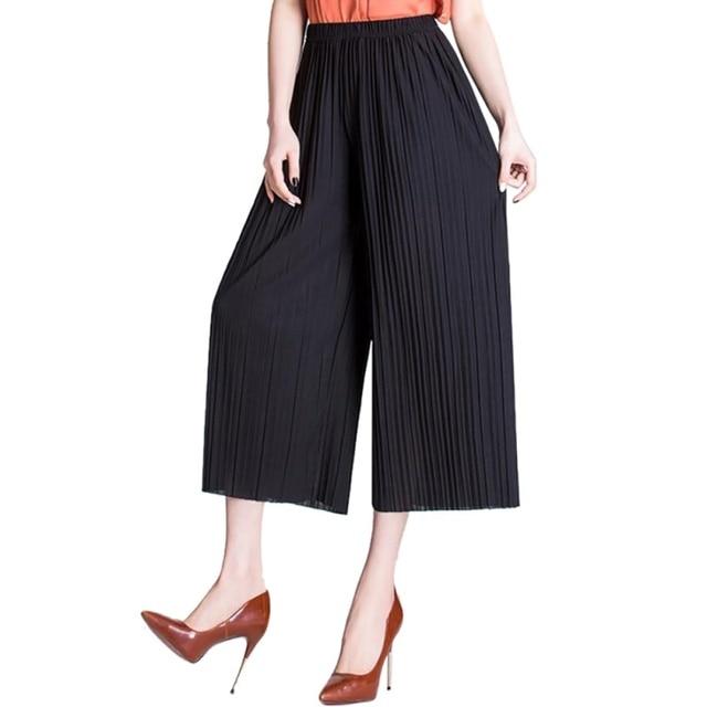 2018 г. летние женские шифон широкие штаны Для женщин Высокая Талия плиссе морщин свободные для девочек тонкие модные, пикантные корейские брюки