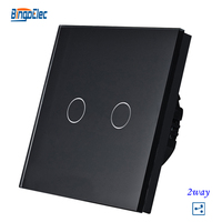 2gang 2way Black Crystal Glass Panel Smart Touch Light Switch Touch Sensor Light Switch EU UK