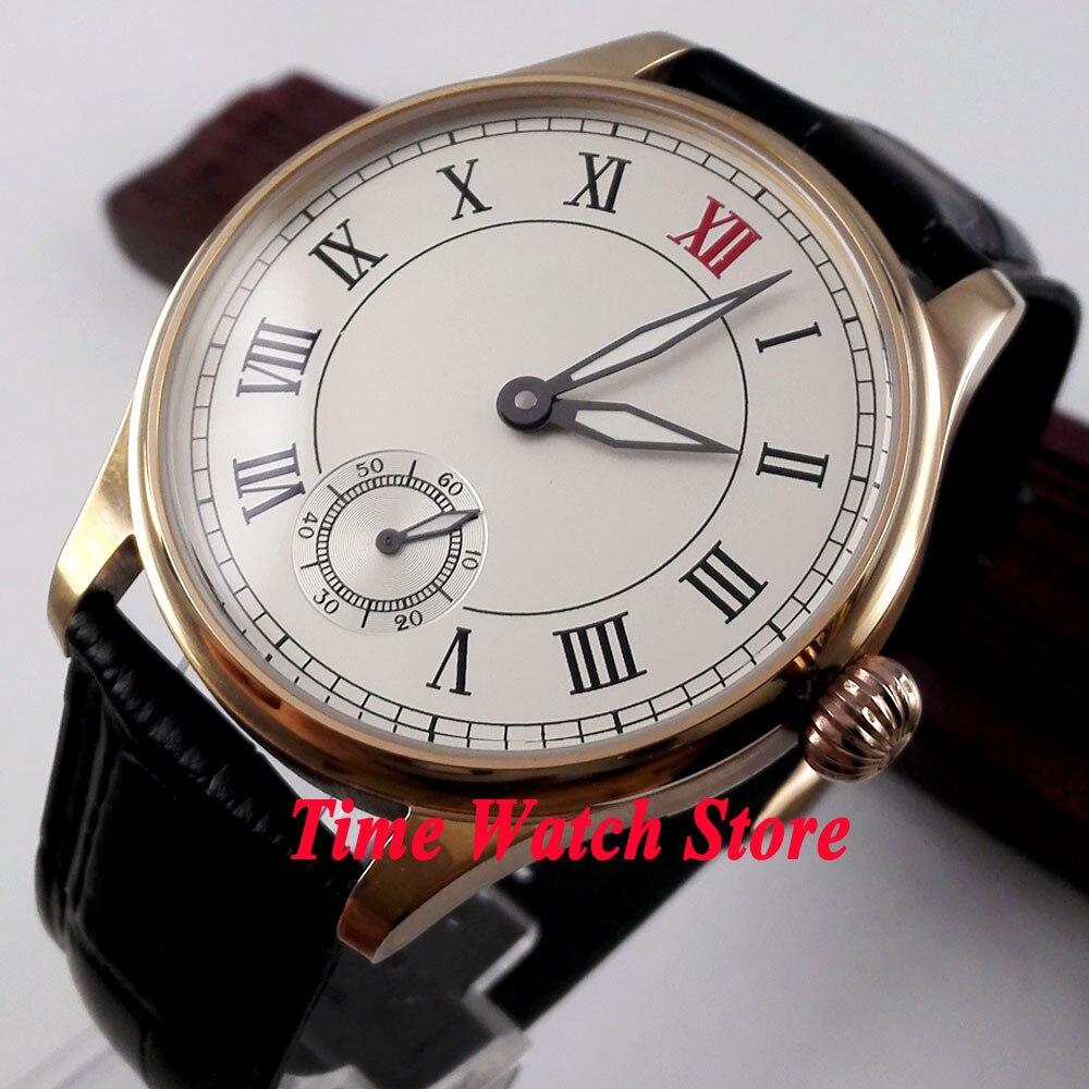 Parnis 44mm white dial golden case luminous hands 6498 mechanical hand winding movement Men's watch 173
