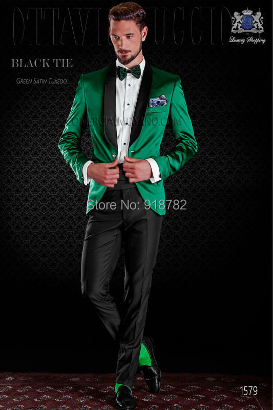 2017 Black Shawl Lapel Men Formal Green/Red/Royal Blue/Purple Suits ...