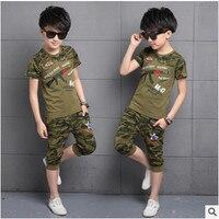 Kids Boys Short Sleeved Suit 2016 New Summer Children S Cotton Casual T Shirt Big Virgin
