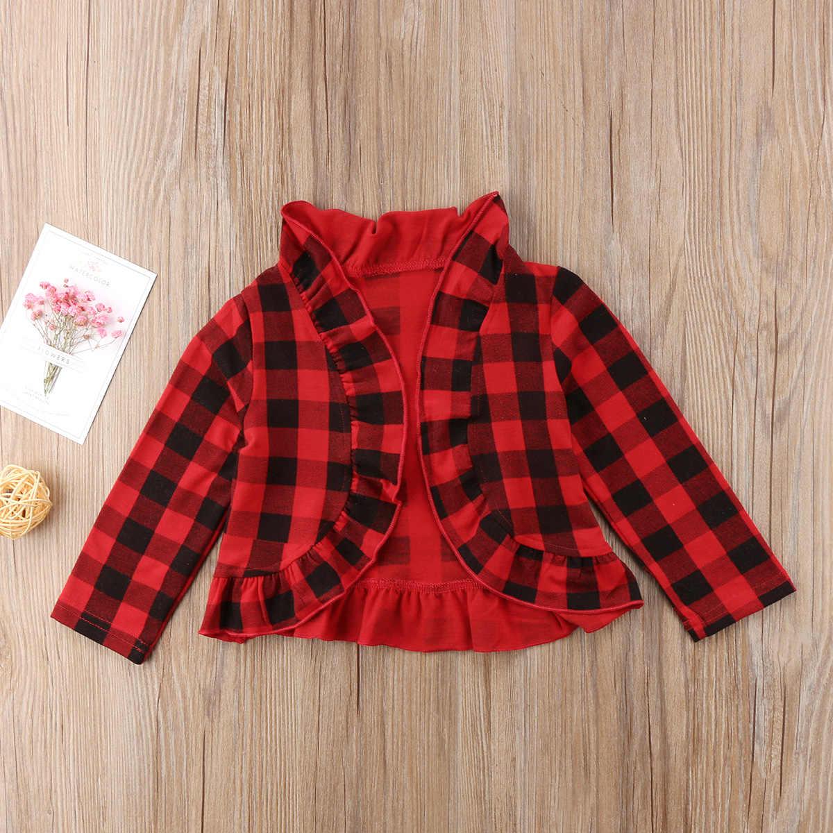 Abrigos de otoño para bebé recién nacido a cuadros niños niñas abrigo de manga larga princesa volantes suéter Fasgion dulce chaqueta de ropa para niños