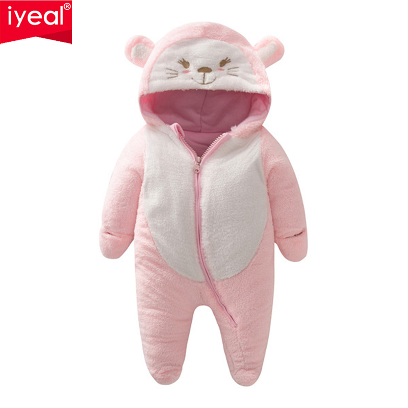 IYEAL Newborn Baby Romper Winter Outwear Girls Boys Clothes Warm Coral Fleece Infant Clothing Animal Overalls Toddler Jumpsuit iyeal baby rompers warm soft flannel winter baby clothes cartoon animal 3d ears children girls jumpsuit newborn infant romper