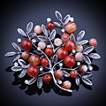 Vintage Natural Stones beads and Imitation Pearl Scarf Brooches and Pins Large Brooch for Women