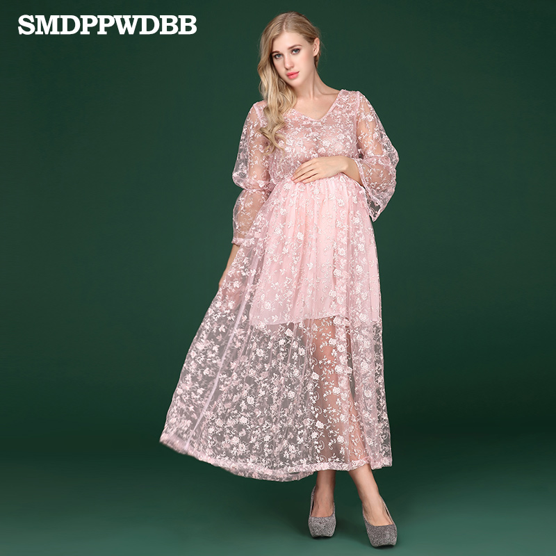 SMDPPWDBB Halloween Women Maternity Lace Dresses Pregnancy Dress Pregnancy Evening Dress Floral V-Neck Plus Size Dresses shein floral plus size white dress women maxi long dresses large sizes print v neck button front shirred waist tropical dress