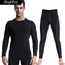 AtejiFey 2018 Workout Compression Sportswear Tights Men Gym Jogging Clothes Tracksuit Quick Dry Sports set Running Fitness