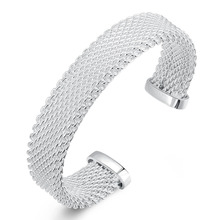 2015 new arrived 925 sterling silver jewelry from india fashion thick mesh open bracelet cuff  for women/ men's promotion trendy