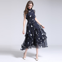 Fashion Print Sleeveless Women Dress Pretty Summer 2018 Ruffles Stand Collar Slim Female Elegant Clothings Summer