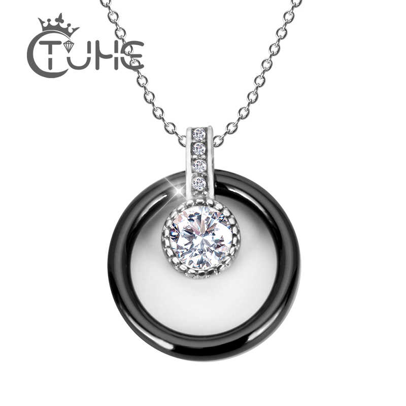 New Big CZ Crystal Stone Ceramic Necklace And Pendants Jewelry  For Women With Free Chain Fashion Simple Style Wedding Jewelry