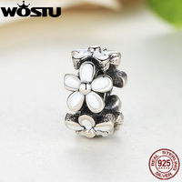 European 925 Sterling Silver Darling Daisies Spacer Charm Fit Original Pandora Bracelet Neckalce Authentic Jewelry Gift