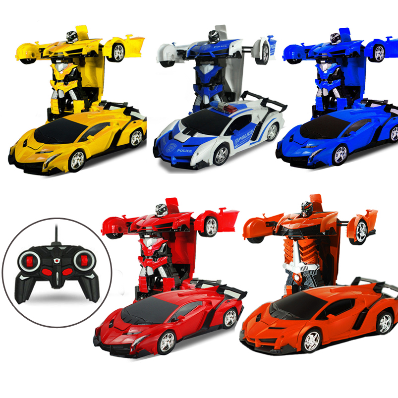 Abbyfrank 2 in 1 Robot Car RC Toy Model Transformation Remote Control Toys Battery Deformation Sports Robots Kids Gift Boys Toys rastar ferrari rc car 458 speciale a remote control toys model sports car styling toys for boys with original box kids gift