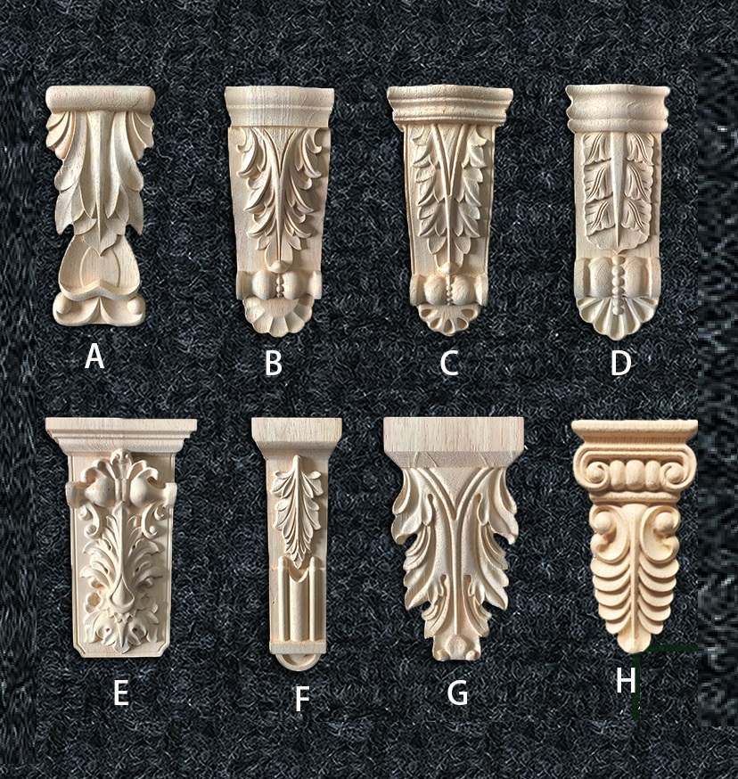 2Pcs/Lot Premintehdw Unfinished Solid Rubber Wood European Carved Corbel Corbel Scroll Acanthus Concise