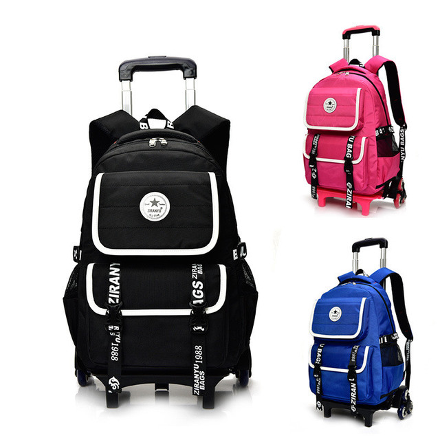 f46fbeb51dc0 Children Removable School Bags for Boys Girls Child 2 6 Wheels Trolley  Backpack Kids Wheeled