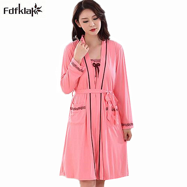 New brand two piece set long sleeve autumn winter robes cotton dressing  gowns for women plus size ladies sleepwear bathrobes 3XL a35369012