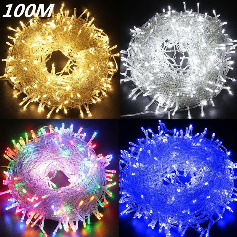 ECLH Christmas Lights 10M 20M 30M 50M 100M Led String 8 Function Christmas Lights 8 Colors For Wedding Party Holiday Lights