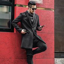 British Style Black New Arrival Woolen Overcoat for Men Casual Men Solid Slim Warm Long Cashmere